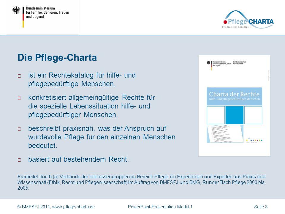 © BMFSFJ 2011, www.pflege-charta.dePowerPoint-Präsentation Modul 1 Die Pflege-Charta Ziele der Pflege-Charta Anspruch auf würdevolle Pflege Adressaten