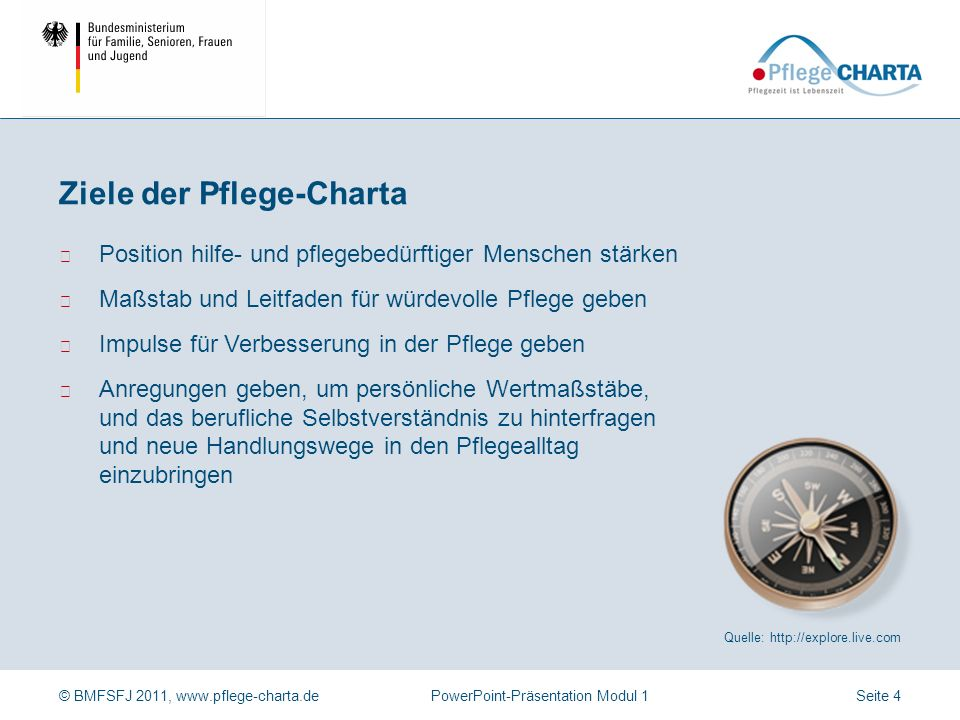 © BMFSFJ 2011, www.pflege-charta.dePowerPoint-Präsentation Modul 1 Erarbeitet durch (a) Verbände der Interessengruppen im Bereich Pflege, (b) Expertin