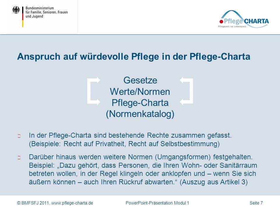 © BMFSFJ 2011, www.pflege-charta.dePowerPoint-Präsentation Modul 1 Der Anspruch basiert auf internationalem und nationalem Recht, z.B. Menschenrechte