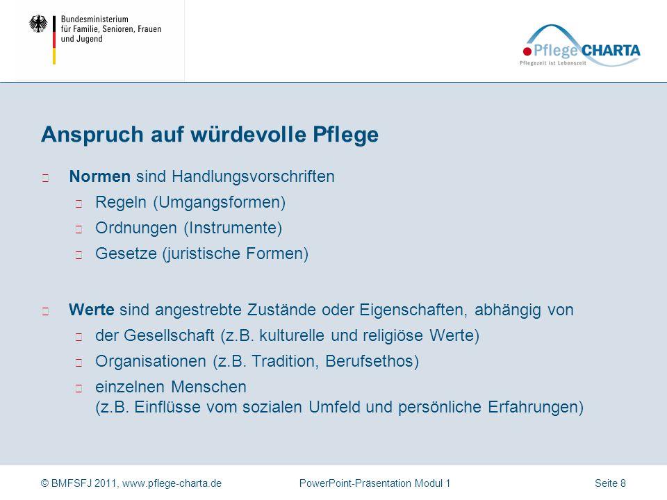 © BMFSFJ 2011, www.pflege-charta.dePowerPoint-Präsentation Modul 1 In der Pflege-Charta sind bestehende Rechte zusammen gefasst. (Beispiele: Recht auf