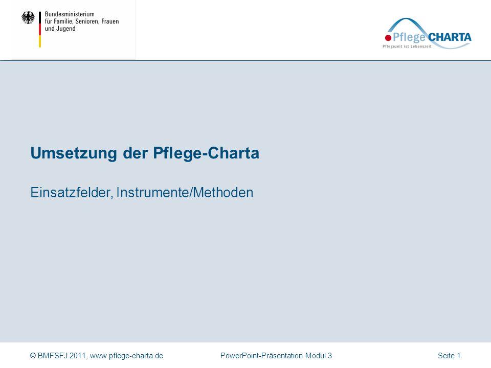 © BMFSFJ 2011, www.pflege-charta.dePowerPoint-Präsentation Modul 3 Dauer der Präsentation Ca. 50 bis 60 Minuten (ohne Begleitbögen) Zielgruppe der Prä