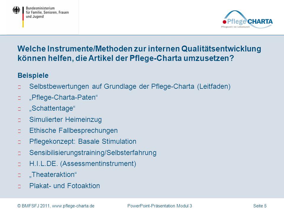 © BMFSFJ 2011, www.pflege-charta.dePowerPoint-Präsentation Modul 3 Beispiele Organisationsinterne Information und Öffentlichkeitsarbeit Leitungsrunden
