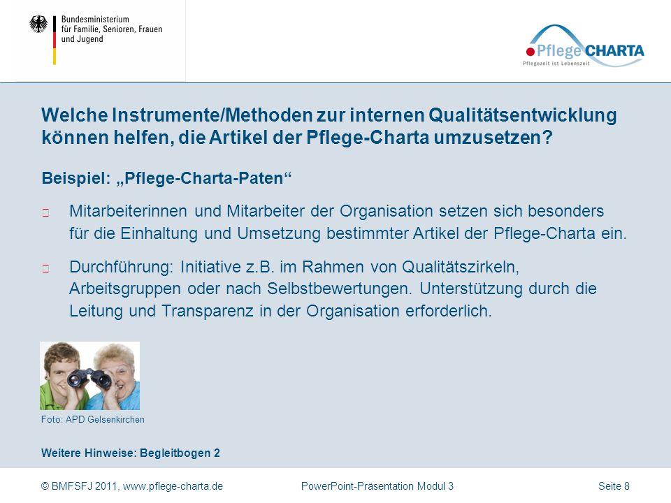 © BMFSFJ 2011, www.pflege-charta.dePowerPoint-Präsentation Modul 3 Auszug aus: Leitfaden zur Selbstbewertung auf Grundlage der Charta der Rechte hilfe