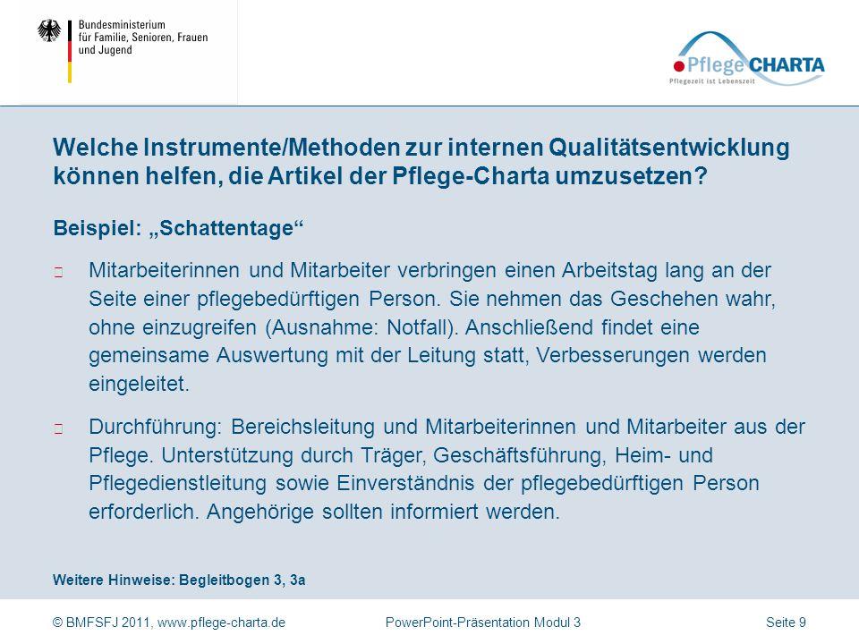 © BMFSFJ 2011, www.pflege-charta.dePowerPoint-Präsentation Modul 3 Weitere Hinweise: Begleitbogen 2 Foto: APD Gelsenkirchen Beispiel: Pflege-Charta-Pa