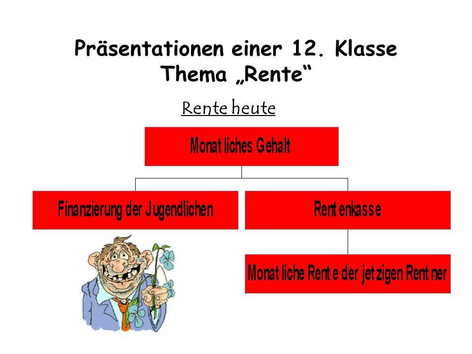 Präsentationen einer 12. Klasse Thema Rente Rente heute