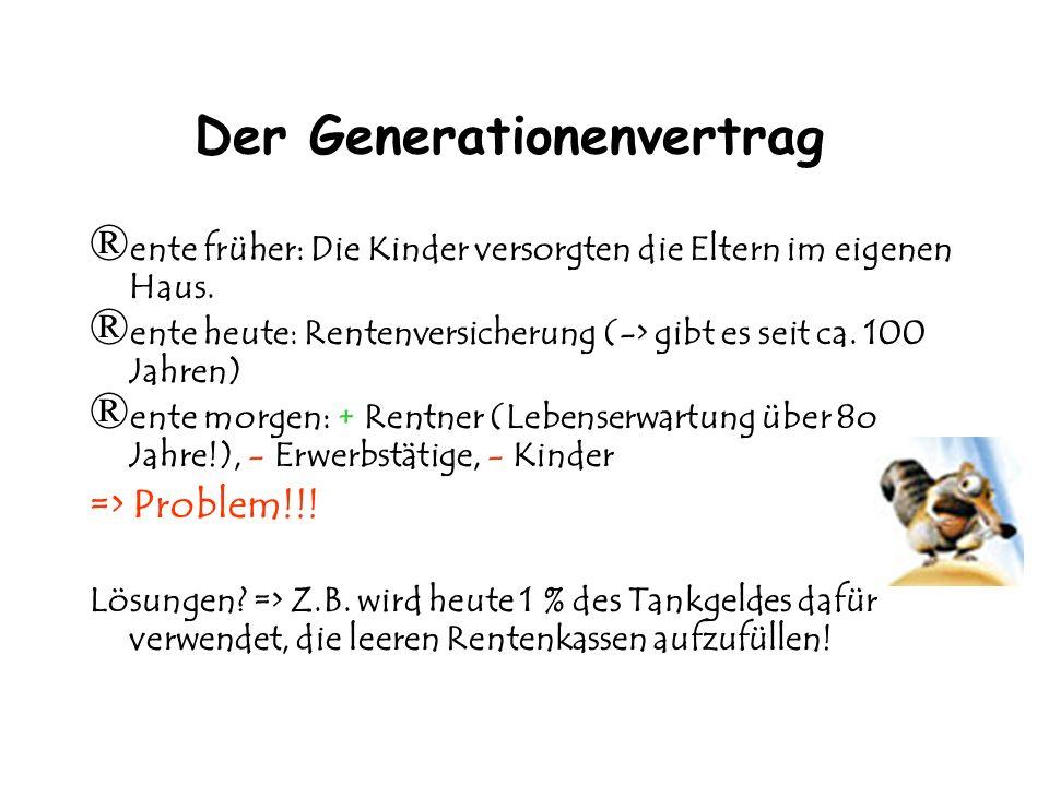 Der Generationenvertrag ®e®e nte früher: Die Kinder versorgten die Eltern im eigenen Haus.