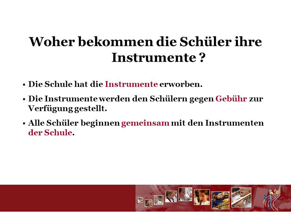 Welche Instrumente gibt es ? Querflöten Klarinetten Saxofone Trompeten Tenorhörner Posaunen Tuba
