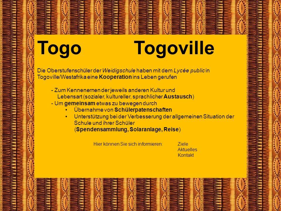 Togo Togoville Die Oberstufenschüler der Weidigschule haben mit dem Lycée public in Togoville/Westafrika eine Kooperation ins Leben gerufen - Zum Kenn