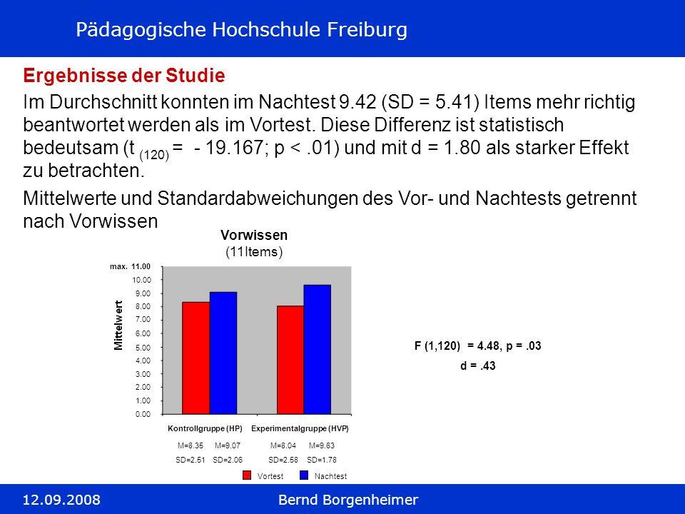 Pädagogische Hochschule Freiburg 12.09.2008Bernd Borgenheimer Ergebnisse der Studie Mittelwerte und Standardabweichungen des Vor- und Nachtests getren
