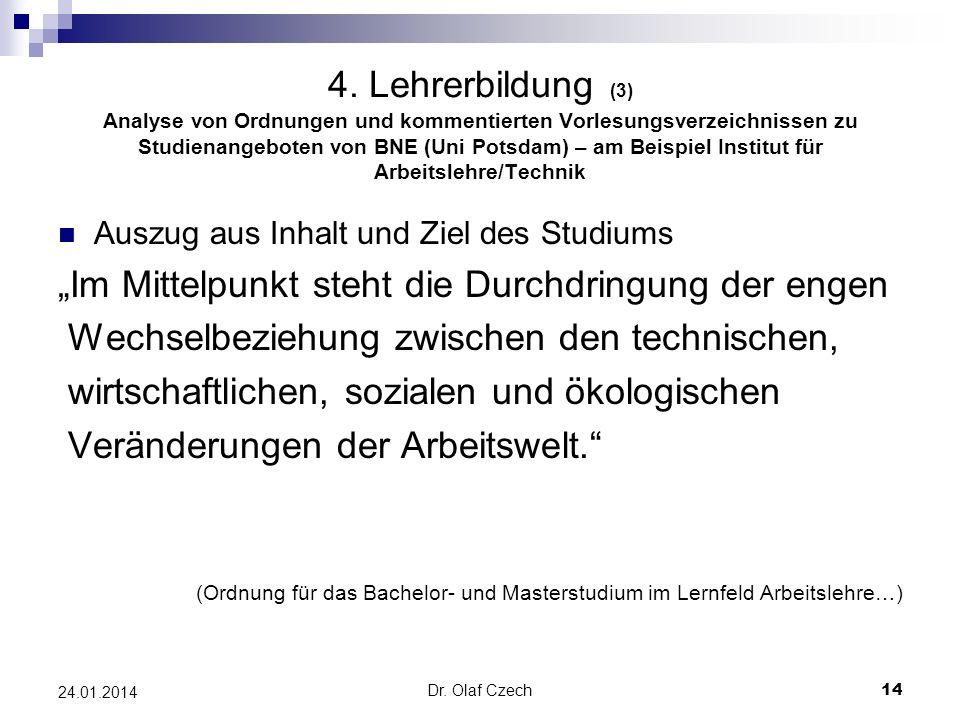 Dr. Olaf Czech 14 24.01.2014 4. Lehrerbildung (3) Analyse von Ordnungen und kommentierten Vorlesungsverzeichnissen zu Studienangeboten von BNE (Uni Po