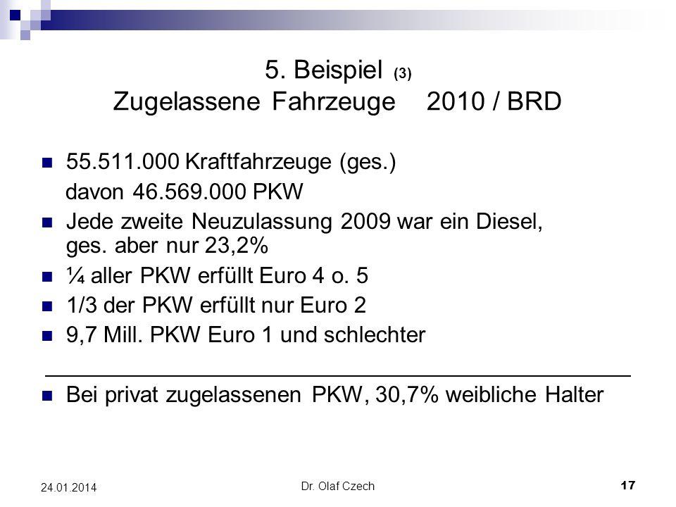 Dr. Olaf Czech 17 24.01.2014 5. Beispiel (3) Zugelassene Fahrzeuge 2010 / BRD 55.511.000 Kraftfahrzeuge (ges.) davon 46.569.000 PKW Jede zweite Neuzul