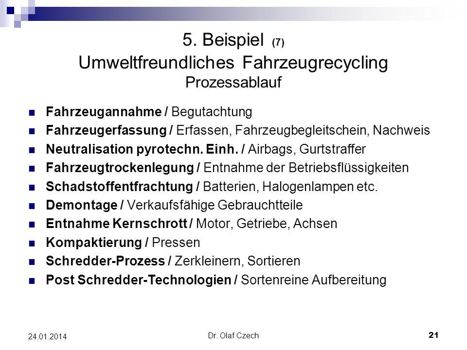 Dr. Olaf Czech 21 24.01.2014 5. Beispiel (7) Umweltfreundliches Fahrzeugrecycling Prozessablauf Fahrzeugannahme / Begutachtung Fahrzeugerfassung / Erf