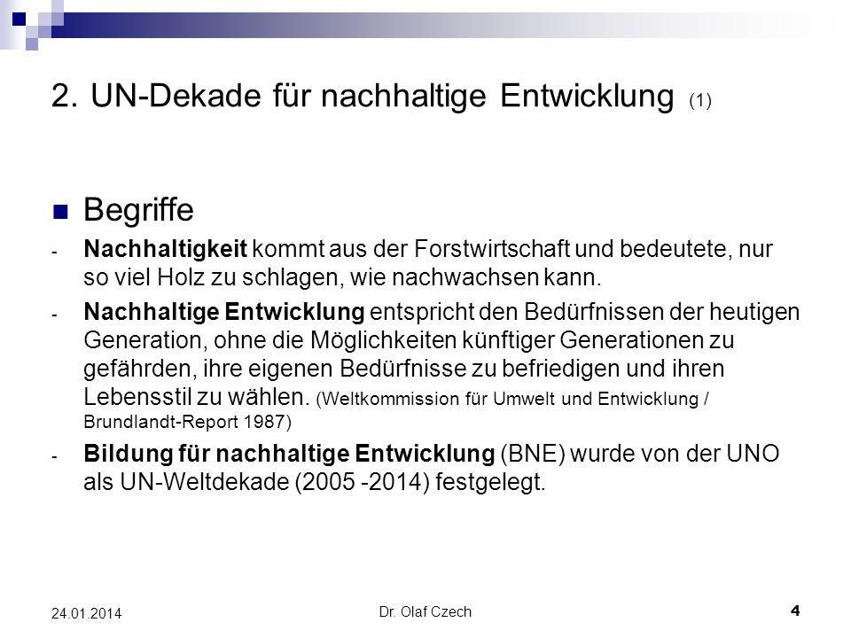 Dr. Olaf Czech 4 24.01.2014 2. UN-Dekade für nachhaltige Entwicklung (1) Begriffe - Nachhaltigkeit kommt aus der Forstwirtschaft und bedeutete, nur so