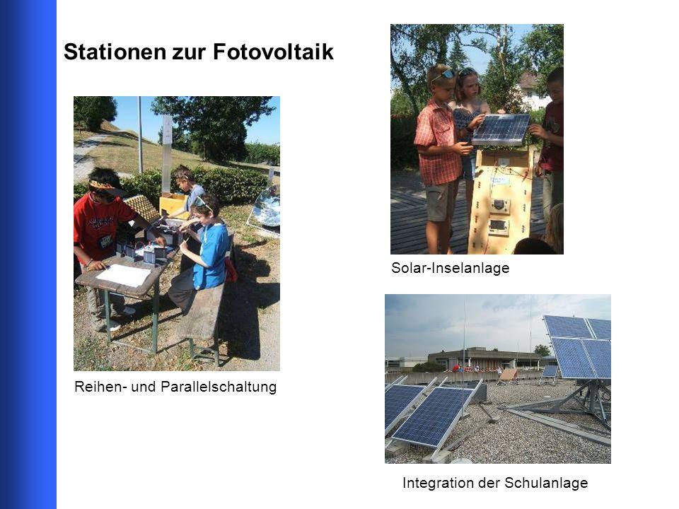 Stationen zur Fotovoltaik Integration der Schulanlage Solar-Inselanlage Reihen- und Parallelschaltung
