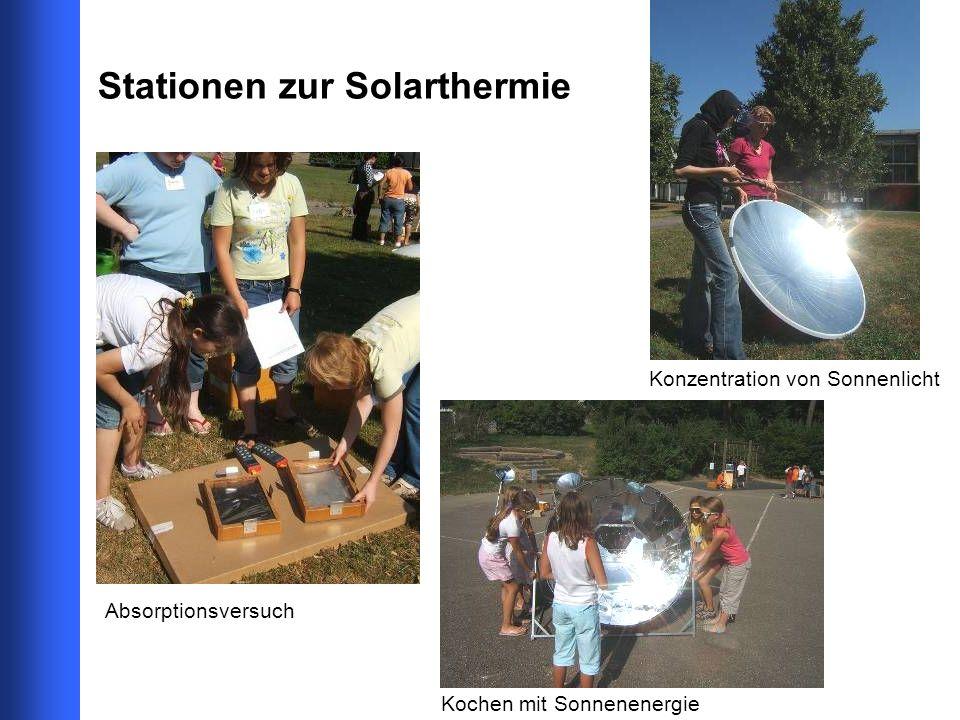 Stationen zur Solarthermie Absorptionsversuch Kochen mit Sonnenenergie Konzentration von Sonnenlicht