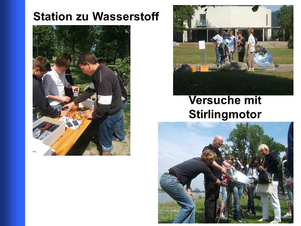 Station zu Wasserstoff Versuche mit Stirlingmotor