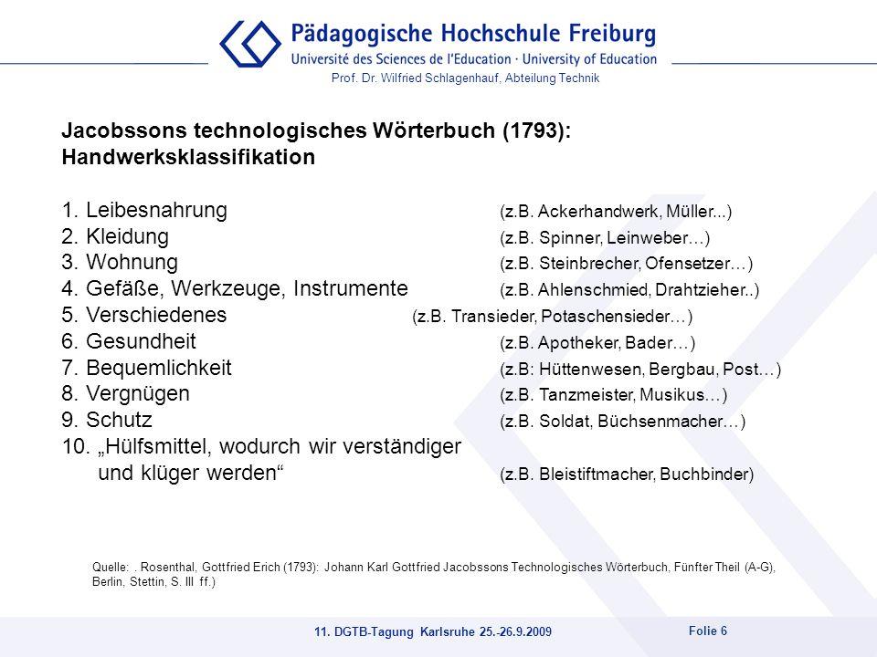 Prof. Dr. Wilfried Schlagenhauf, Abteilung Technik 11. DGTB-Tagung Karlsruhe 25.-26.9.2009 Folie 6 Quelle:. Rosenthal, Gottfried Erich (1793): Johann