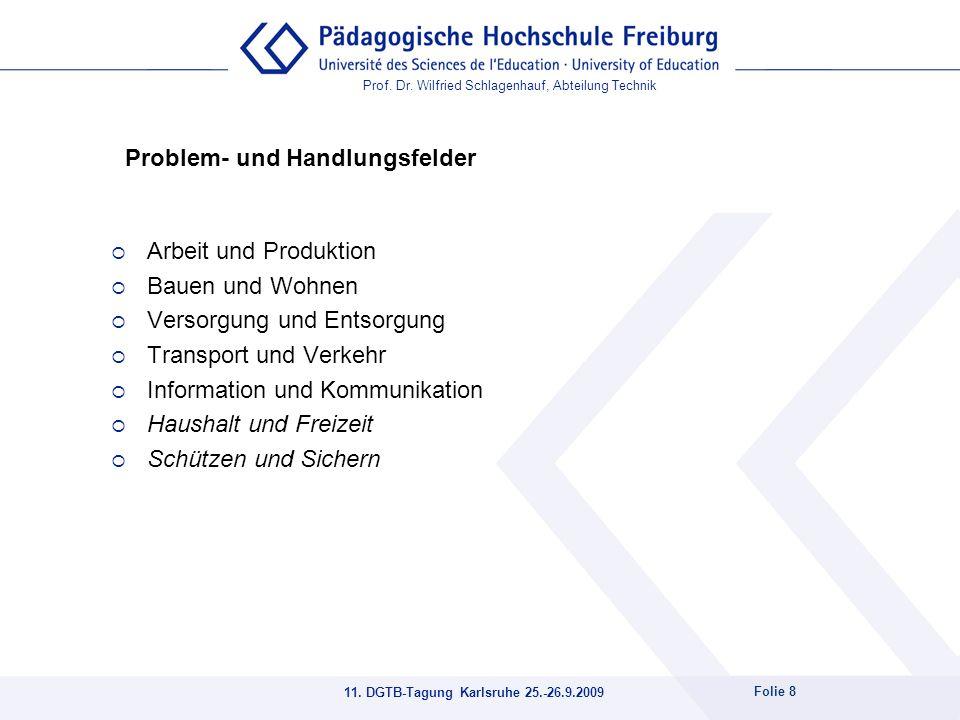 Prof. Dr. Wilfried Schlagenhauf, Abteilung Technik 11. DGTB-Tagung Karlsruhe 25.-26.9.2009 Folie 8 Problem- und Handlungsfelder Arbeit und Produktion