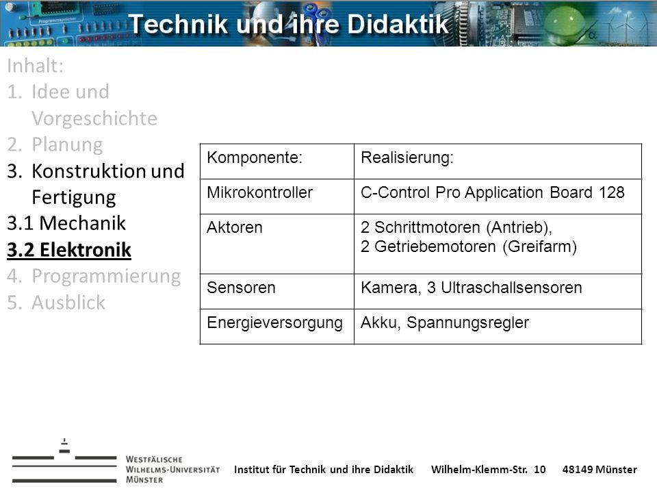 Institut für Technik und ihre DidaktikWilhelm-Klemm-Str. 1048149 Münster Komponente:Realisierung: MikrokontrollerC-Control Pro Application Board 128 A