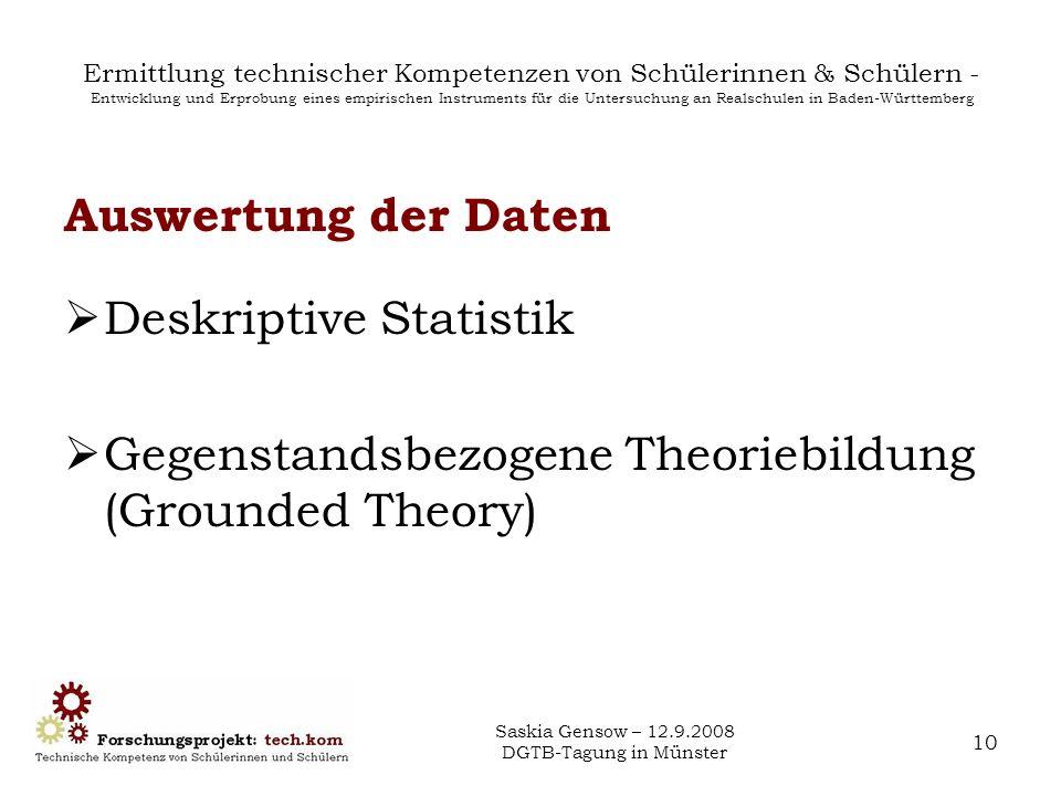 Saskia Gensow – 12.9.2008 DGTB-Tagung in Münster 10 Ermittlung technischer Kompetenzen von Schülerinnen & Schülern - Entwicklung und Erprobung eines e