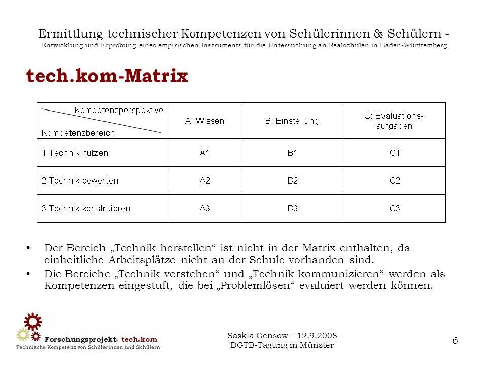 Saskia Gensow – 12.9.2008 DGTB-Tagung in Münster 7 Ermittlung technischer Kompetenzen von Schülerinnen & Schülern - Entwicklung und Erprobung eines empirischen Instruments für die Untersuchung an Realschulen in Baden-Württemberg VDI-Standards in tech.kom-Matrix