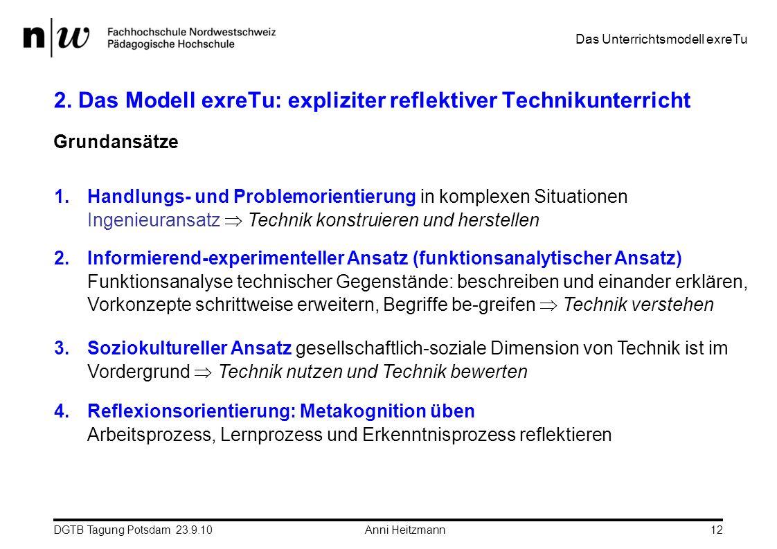 DGTB Tagung Potsdam 23.9.10 Anni Heitzmann12 2. Das Modell exreTu: expliziter reflektiver Technikunterricht Das Unterrichtsmodell exreTu Grundansätze