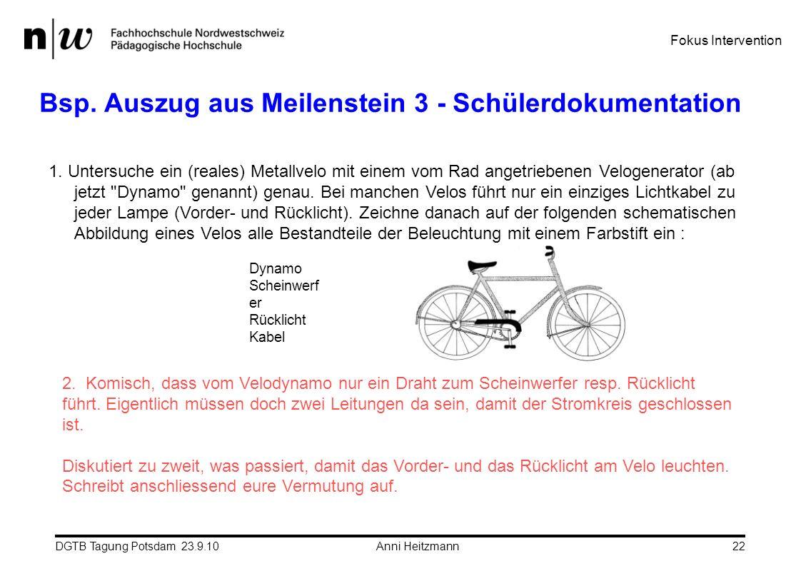DGTB Tagung Potsdam 23.9.10 Anni Heitzmann22 Bsp. Auszug aus Meilenstein 3 - Schülerdokumentation 1. Untersuche ein (reales) Metallvelo mit einem vom