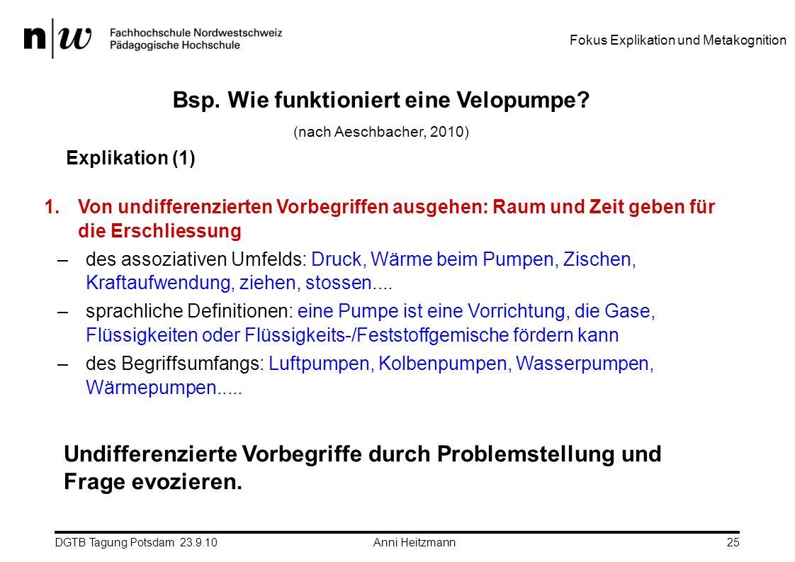 DGTB Tagung Potsdam 23.9.10 Anni Heitzmann25 1.Von undifferenzierten Vorbegriffen ausgehen: Raum und Zeit geben für die Erschliessung –des assoziative