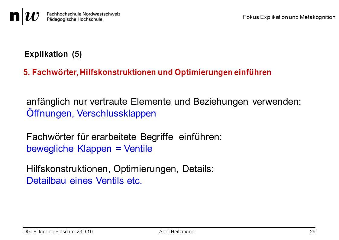 DGTB Tagung Potsdam 23.9.10 Anni Heitzmann29 Explikation (5) 5. Fachwörter, Hilfskonstruktionen und Optimierungen einführen anfänglich nur vertraute E