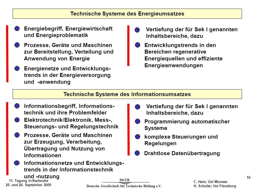 Deutsche Gesellschaft für Technische Bildung e.V. DGTB 11. Tagung in Karlsruhe 25. und 26. September 2009 10 C. Hein; Uni Münster H. Schulte; Uni Flen