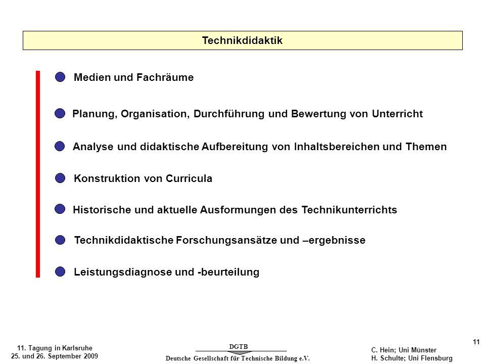 Deutsche Gesellschaft für Technische Bildung e.V. DGTB 11. Tagung in Karlsruhe 25. und 26. September 2009 11 C. Hein; Uni Münster H. Schulte; Uni Flen