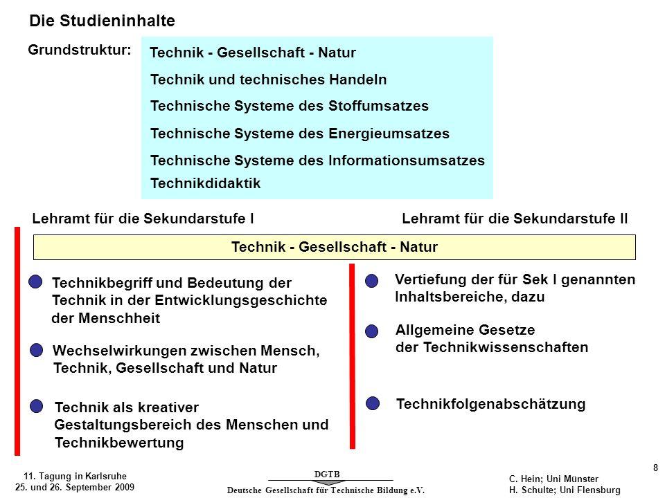 Deutsche Gesellschaft für Technische Bildung e.V. DGTB 11. Tagung in Karlsruhe 25. und 26. September 2009 8 C. Hein; Uni Münster H. Schulte; Uni Flens