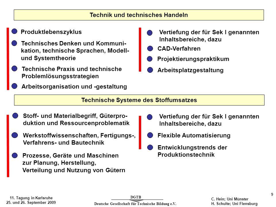 Deutsche Gesellschaft für Technische Bildung e.V. DGTB 11. Tagung in Karlsruhe 25. und 26. September 2009 9 C. Hein; Uni Münster H. Schulte; Uni Flens