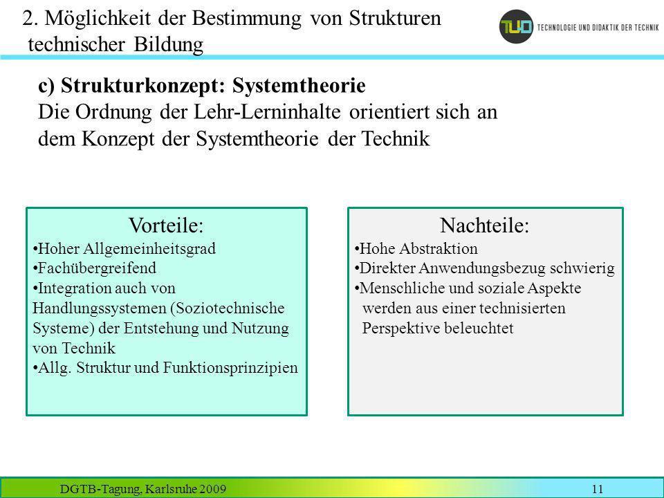 DGTB-Tagung, Karlsruhe 200911 2. Möglichkeit der Bestimmung von Strukturen technischer Bildung c) Strukturkonzept: Systemtheorie Die Ordnung der Lehr-