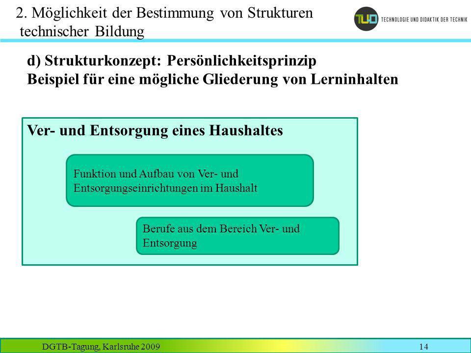 DGTB-Tagung, Karlsruhe 200914 2. Möglichkeit der Bestimmung von Strukturen technischer Bildung d) Strukturkonzept: Persönlichkeitsprinzip Beispiel für