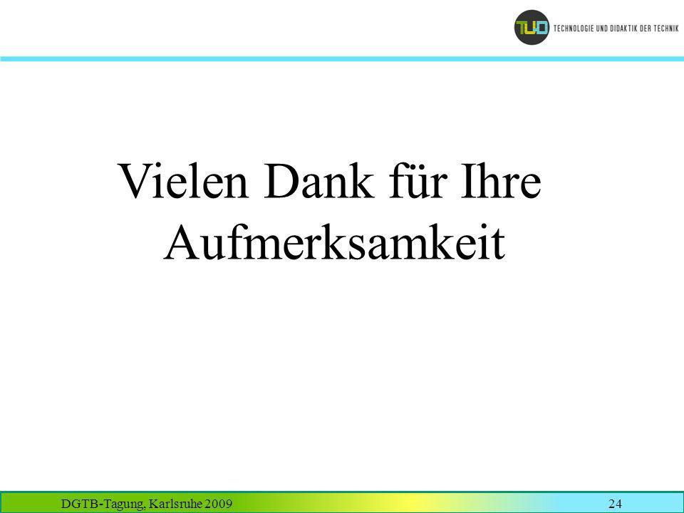DGTB-Tagung, Karlsruhe 200924 Vielen Dank für Ihre Aufmerksamkeit
