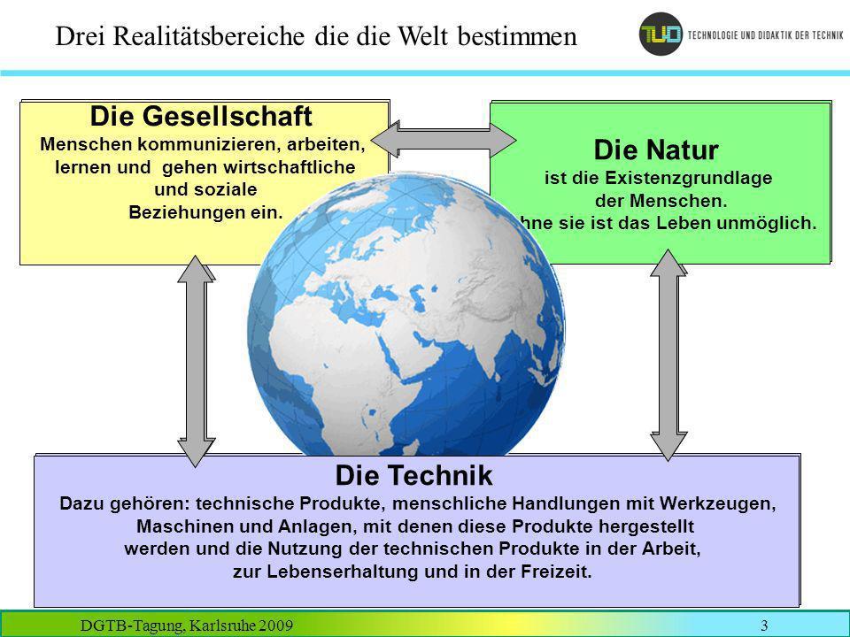 DGTB-Tagung, Karlsruhe 20093 Drei Realitätsbereiche die die Welt bestimmen Die Natur ist die Existenzgrundlage der Menschen. Ohne sie ist das Leben un
