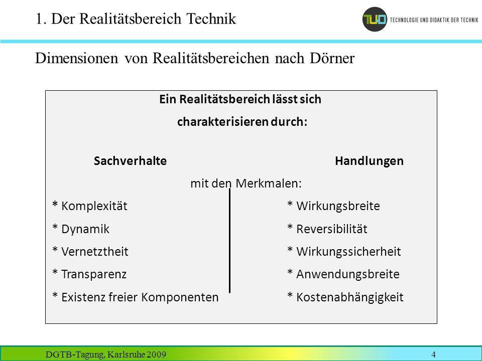 DGTB-Tagung, Karlsruhe 20094 1. Der Realitätsbereich Technik Dimensionen von Realitätsbereichen nach Dörner Ein Realitätsbereich lässt sich charakteri