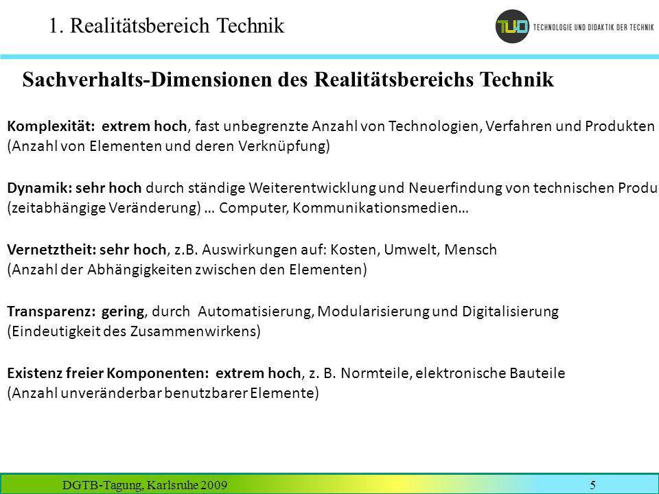 DGTB-Tagung, Karlsruhe 20095 1. Realitätsbereich Technik Sachverhalts-Dimensionen des Realitätsbereichs Technik Komplexität: extrem hoch, fast unbegre