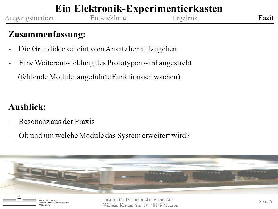 Institut für Technik und ihre Didaktik Wilhelm-Klemm-Str.