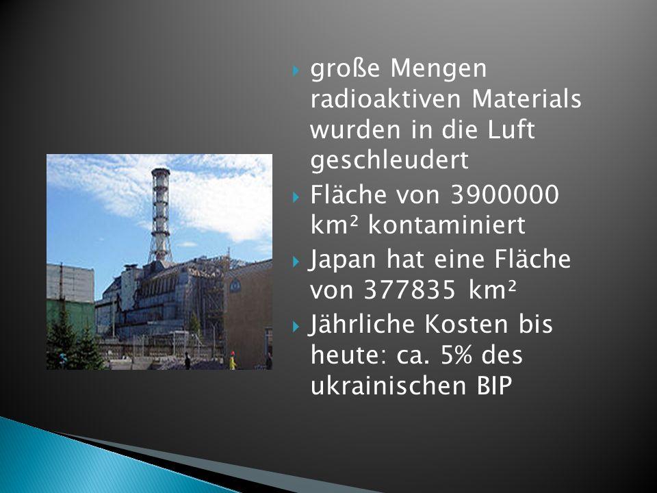 große Mengen radioaktiven Materials wurden in die Luft geschleudert Fläche von 3900000 km² kontaminiert Japan hat eine Fläche von 377835 km² Jährliche