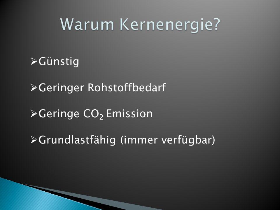 Günstig Geringer Rohstoffbedarf Geringe CO 2 Emission Grundlastfähig (immer verfügbar)