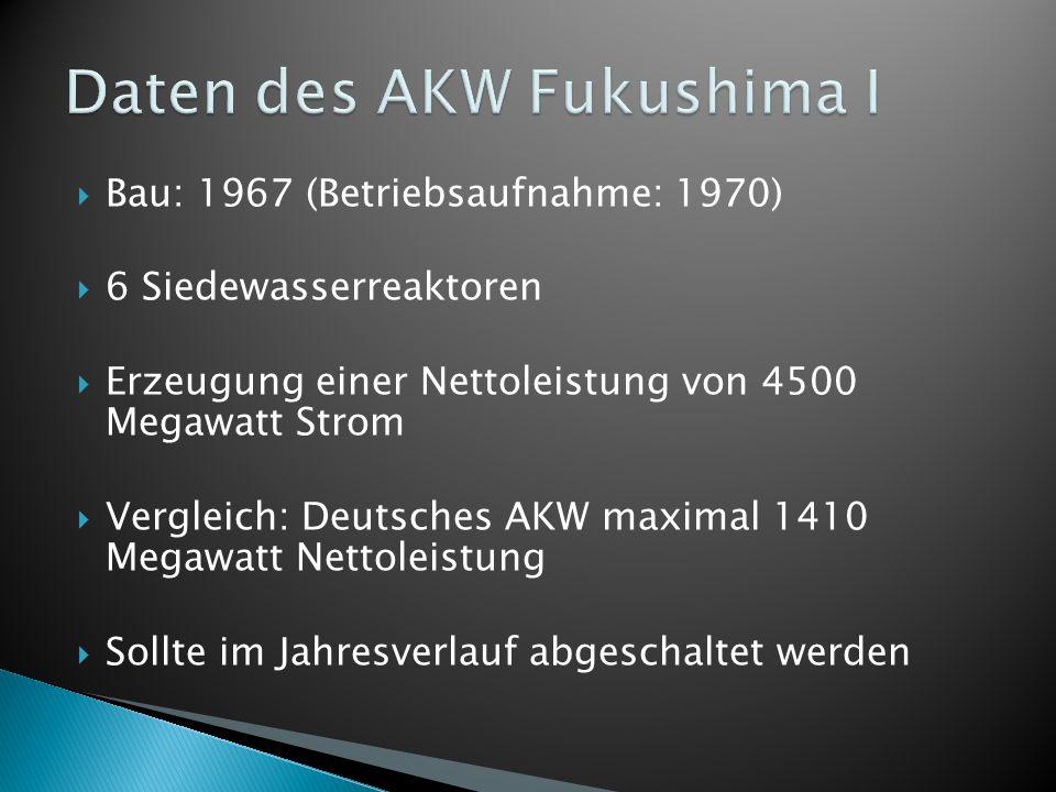 Bau: 1967 (Betriebsaufnahme: 1970) 6 Siedewasserreaktoren Erzeugung einer Nettoleistung von 4500 Megawatt Strom Vergleich: Deutsches AKW maximal 1410