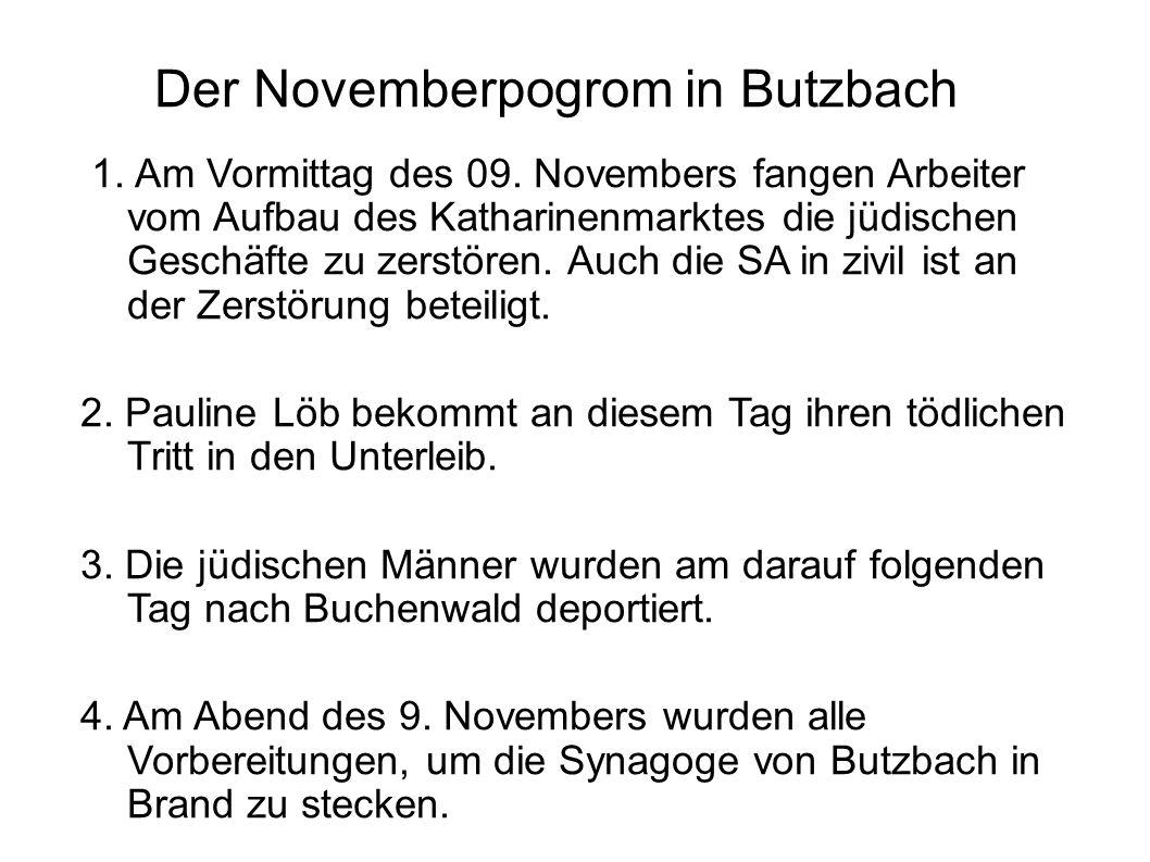 1. Am Vormittag des 09. Novembers fangen Arbeiter vom Aufbau des Katharinenmarktes die jüdischen Geschäfte zu zerstören. Auch die SA in zivil ist an d