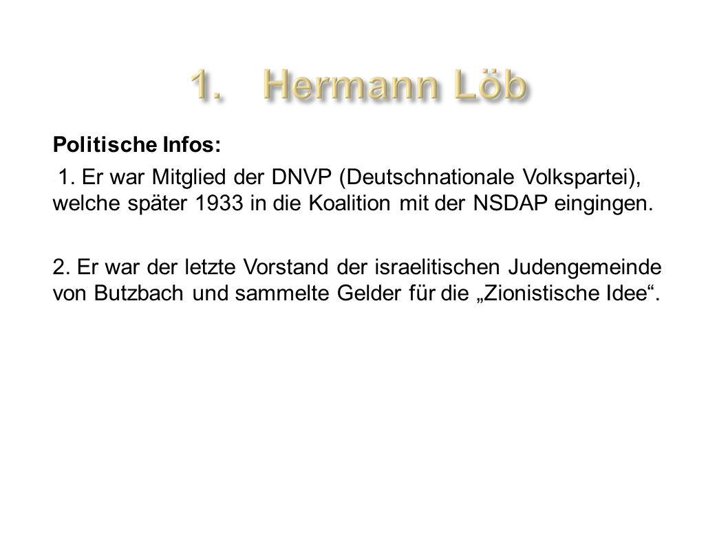 Politische Infos: - 1. Er war Mitglied der DNVP (Deutschnationale Volkspartei), welche später 1933 in die Koalition mit der NSDAP eingingen. 2. Er war