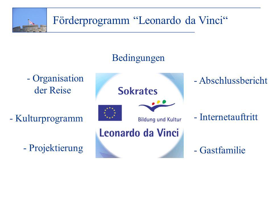 Förderprogramm Leonardo da Vinci Bedingungen - Organisation der Reise - Kulturprogramm - Projektierung - Internetauftritt - Abschlussbericht - Gastfamilie