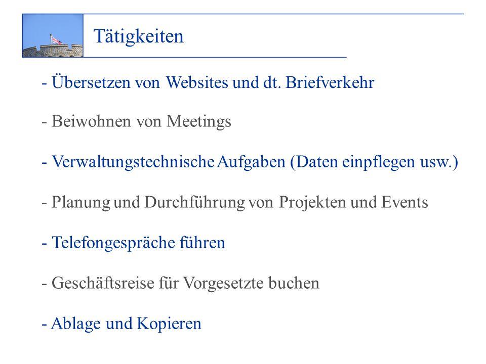 Tätigkeiten - Übersetzen von Websites und dt.