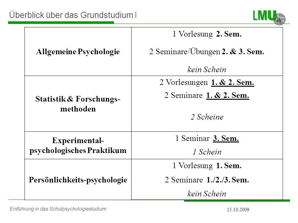 Einführung in das Schulpsychologiestudium 15.10.2009 Überblick über das Grundstudium II Entwicklungspsychologie 2 Vorlesungen 1.