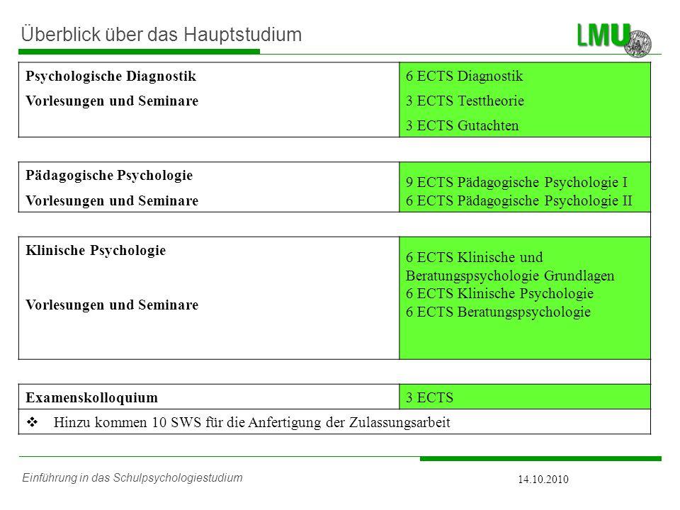 Einführung in das Schulpsychologiestudium 14.10.2010 Überblick über das Hauptstudium Psychologische Diagnostik6 ECTS Diagnostik Vorlesungen und Semina