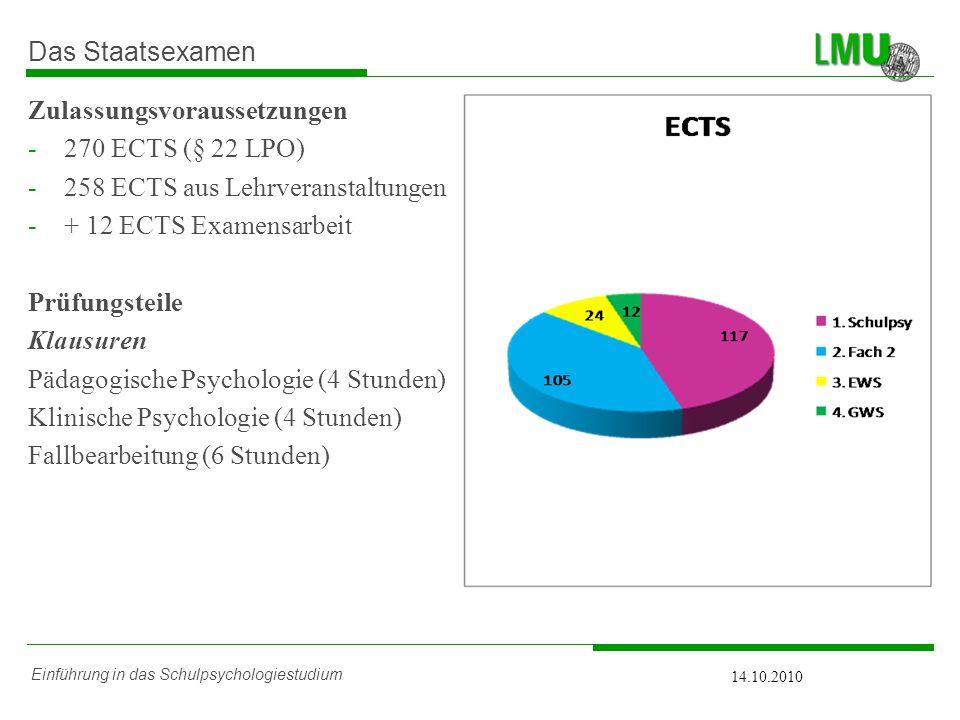Einführung in das Schulpsychologiestudium 14.10.2010 Das Staatsexamen Zulassungsvoraussetzungen -270 ECTS (§ 22 LPO) -258 ECTS aus Lehrveranstaltungen